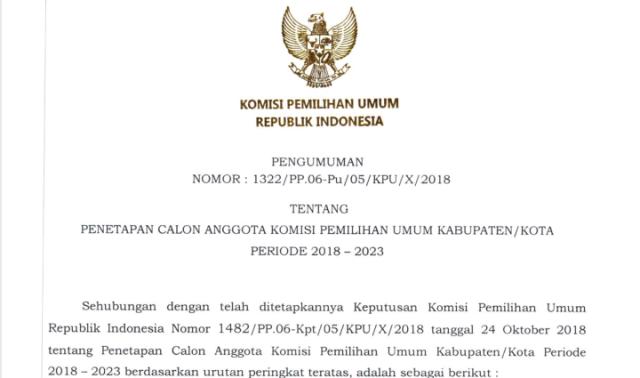 Ini Nama Nama Komisioner Kpu Tapanuli Tengah Yang Diumumkan Kpu Ri Tertanggal 24 Oktober 2018