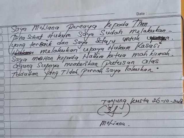 'Jeritan' Meliana dari Balik Penjara