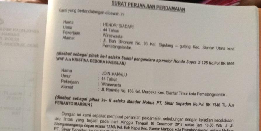 Dugaan Surat Perjanjian Damai Palsu Kasus Laka Lantas Di Siantar