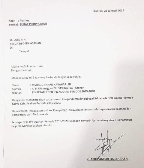 Sekretaris Dpd Ipk Asahan Mengundurkan Diri Ini Pernyataannya